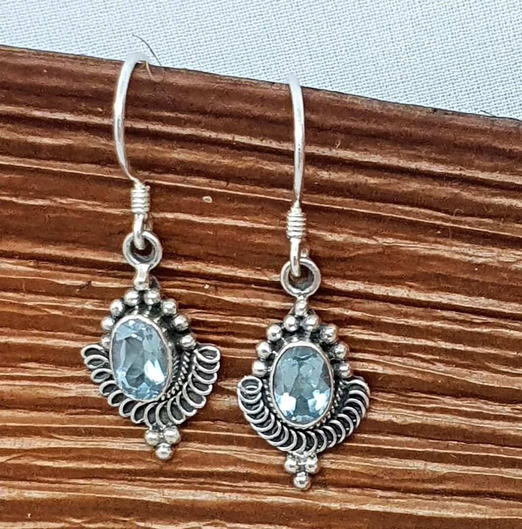 Sterling silver delicate blue topaz earrings image 3