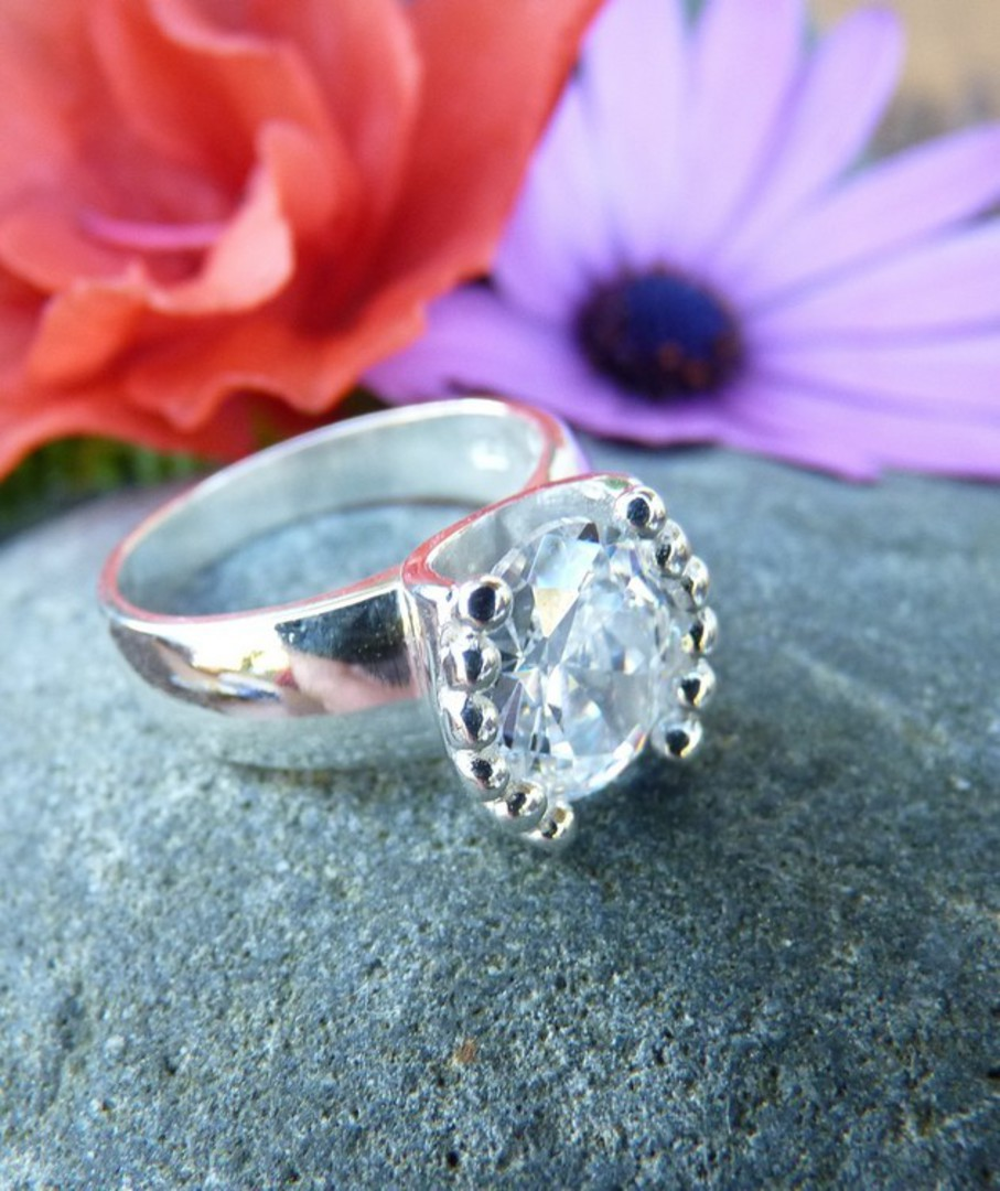 Sterling silver cubic zirconia ring image 1