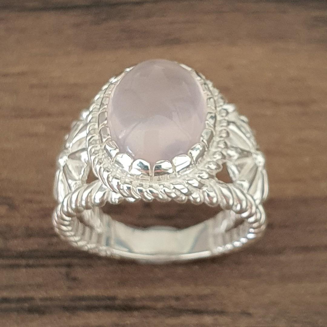 Sterling silver rose quartz flower ring image 1