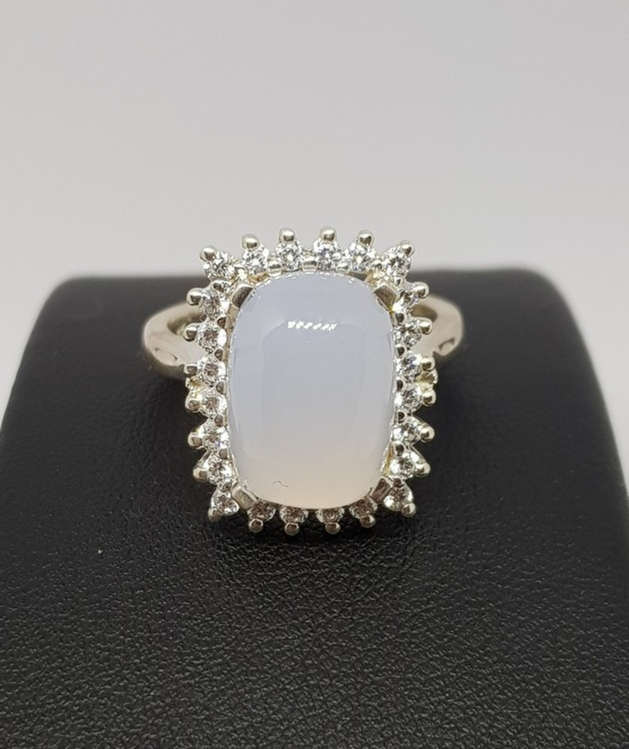 Sterling silver blue chalcedony ring image 2