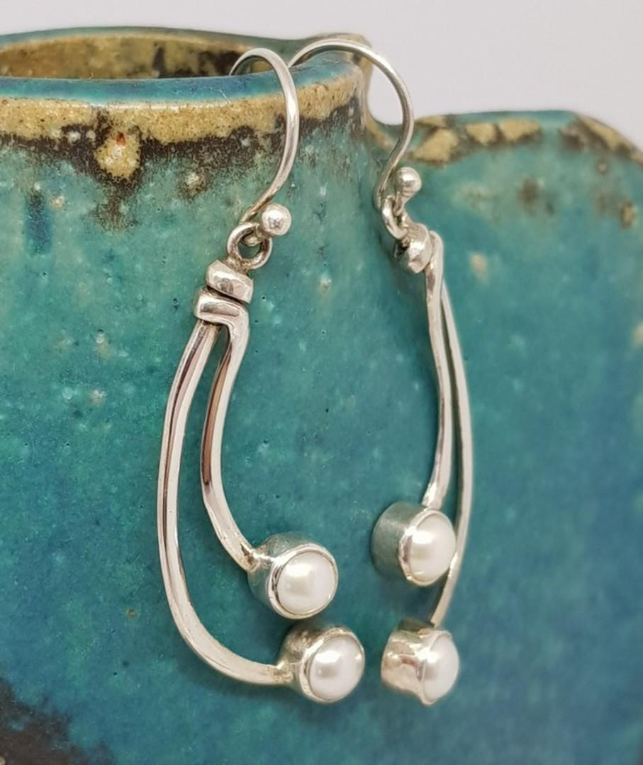 Long stem pearl earrings - sterling silver image 0