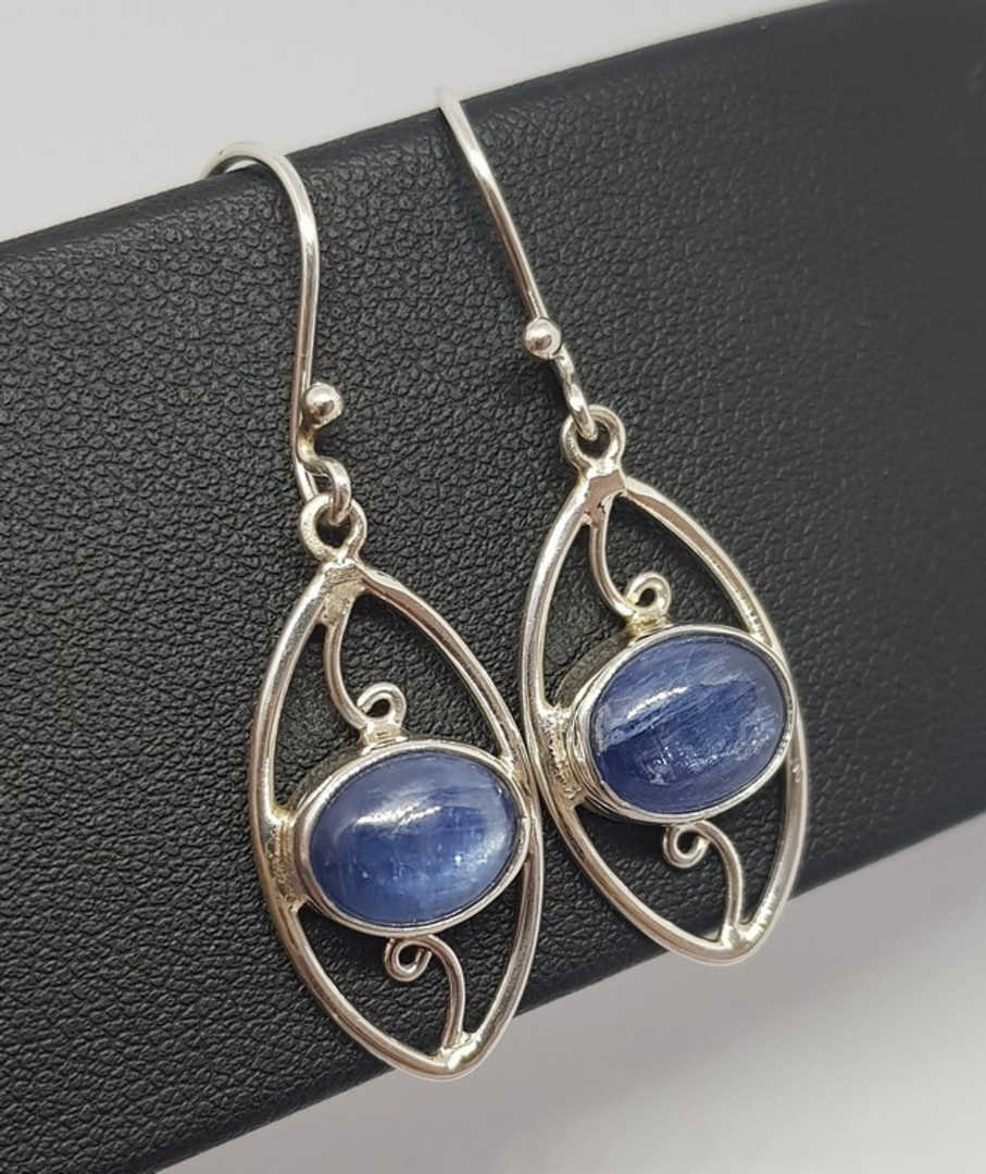 Sterling silver blue kyanite gemstone earrings image 0