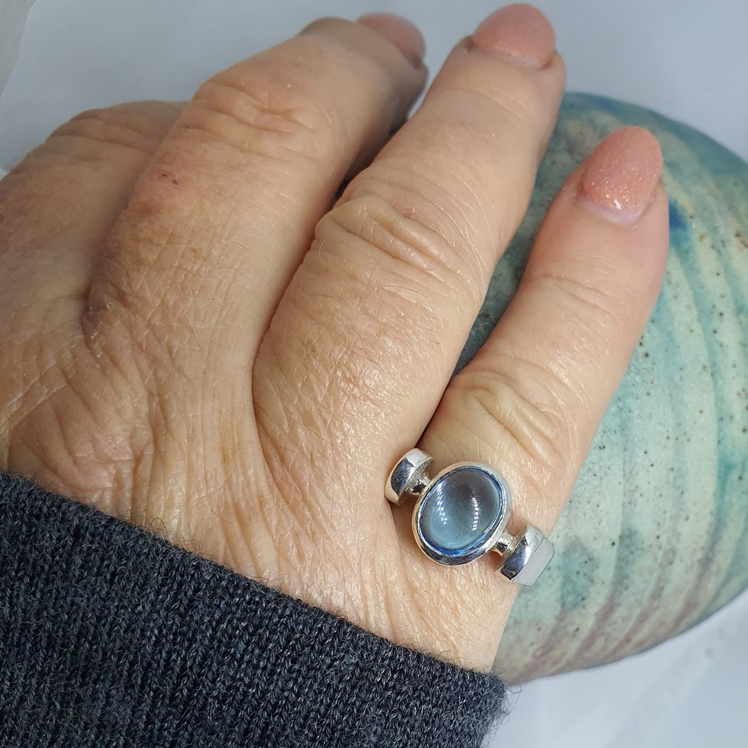 Sterling silver ring with blue gemstone image 3