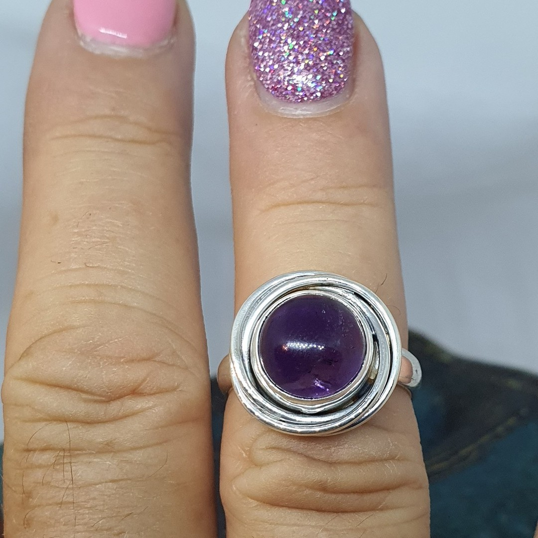 Sterling silver natural amethyst ring image 2