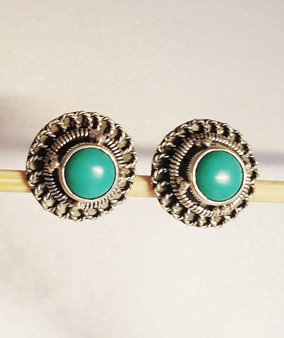 Silver turquoise stud earrings image 1