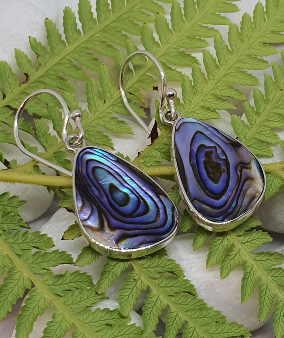Sterling silver paua shell earrings - last pair image 1
