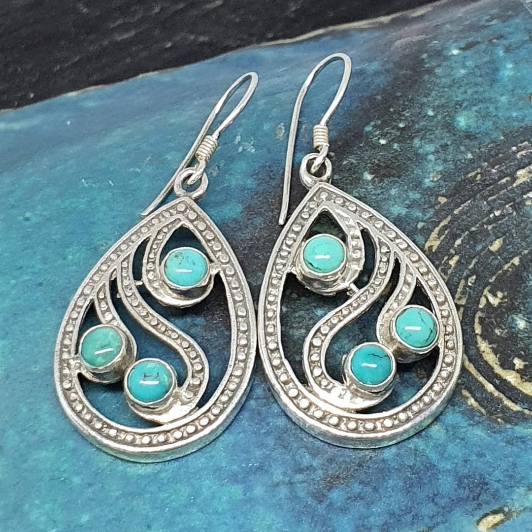 Sterling silver turquoise teardrop earrings image 0