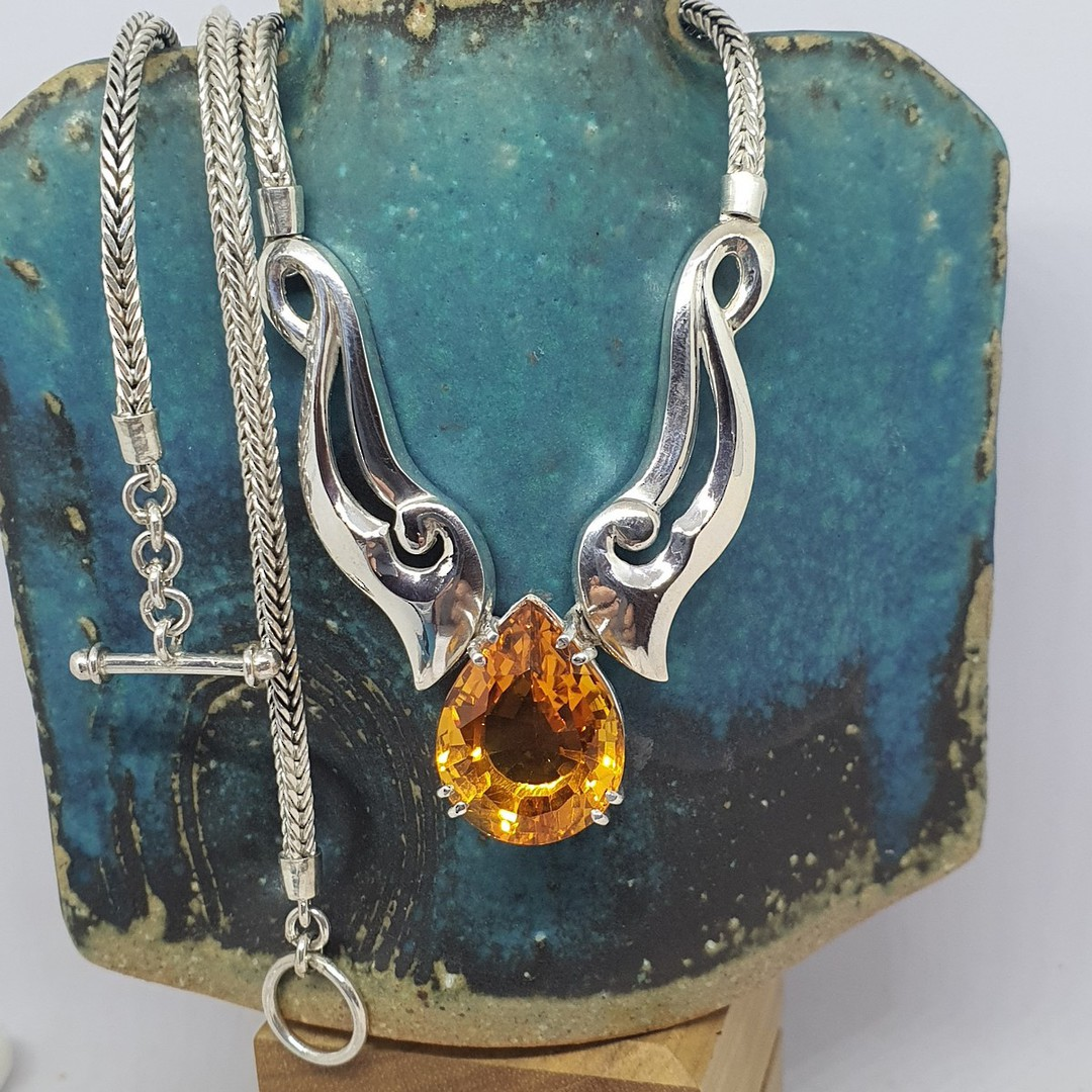 Made in NZ  - Silver citrine necklace image 0