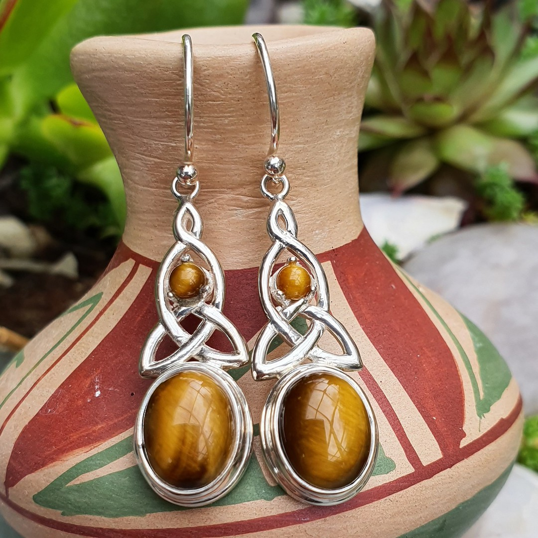 Silver tigers eye earrings with infinity knot image 1
