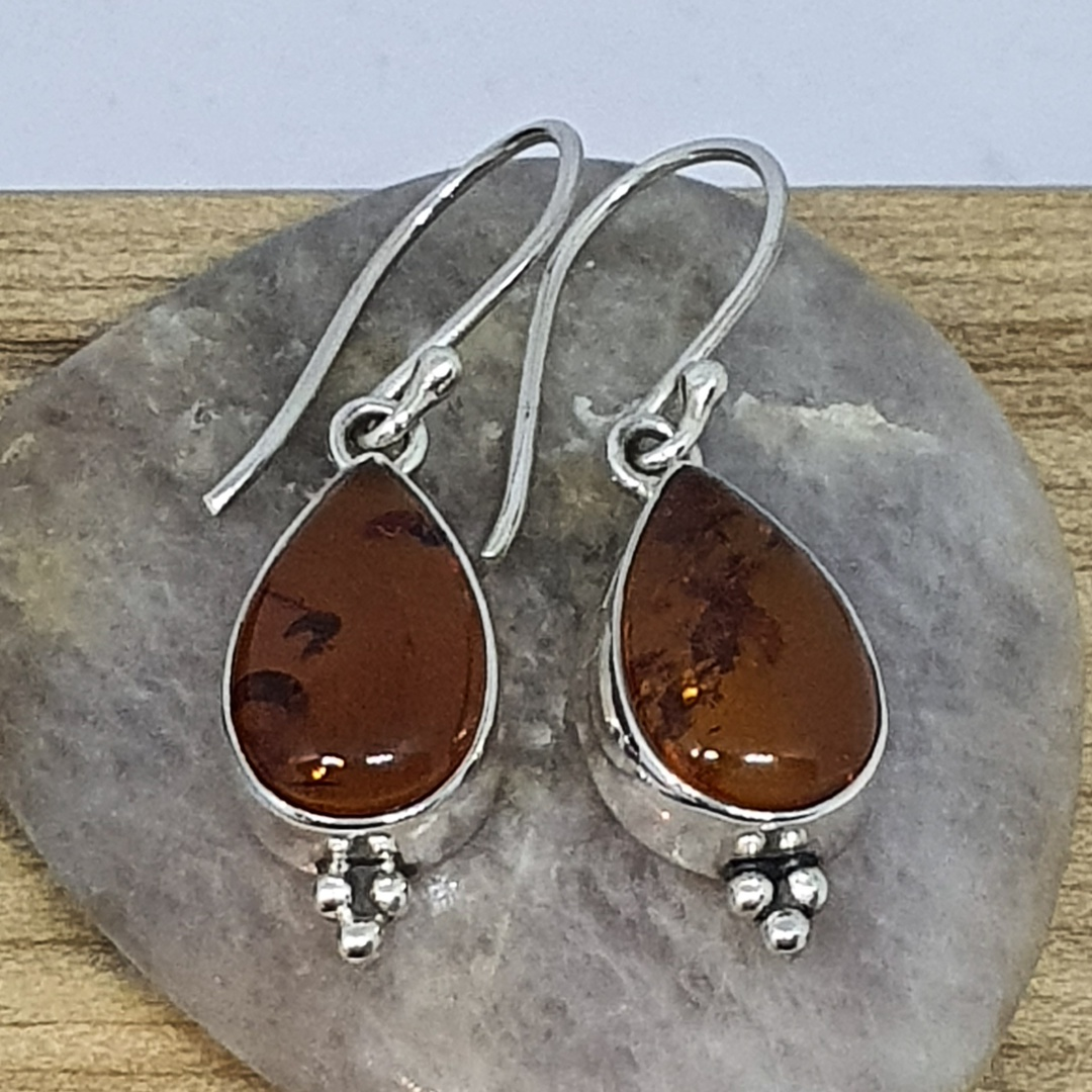 925 Sterling silver amber earrings image 1