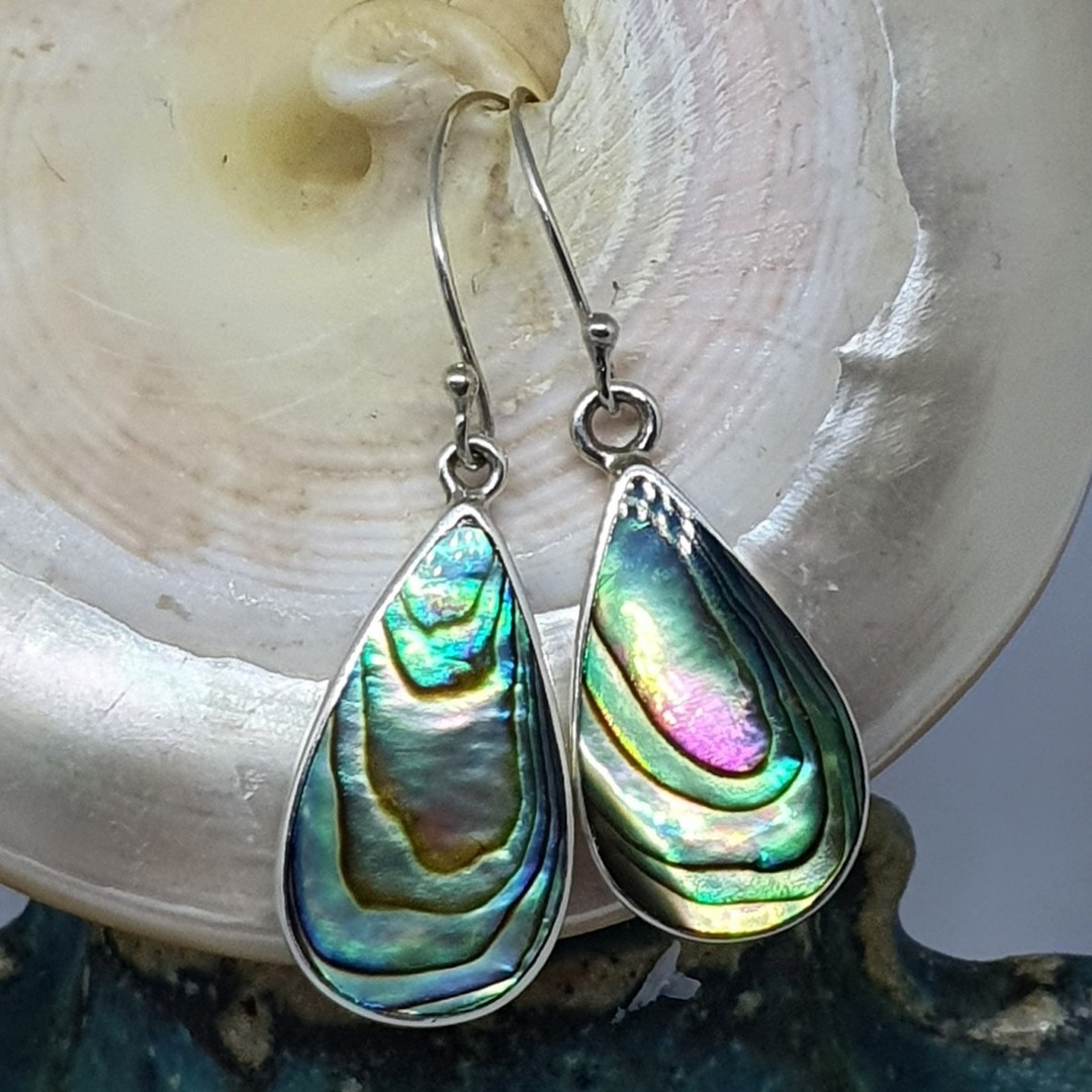 Large teardrop paua shell hook earrings image 2