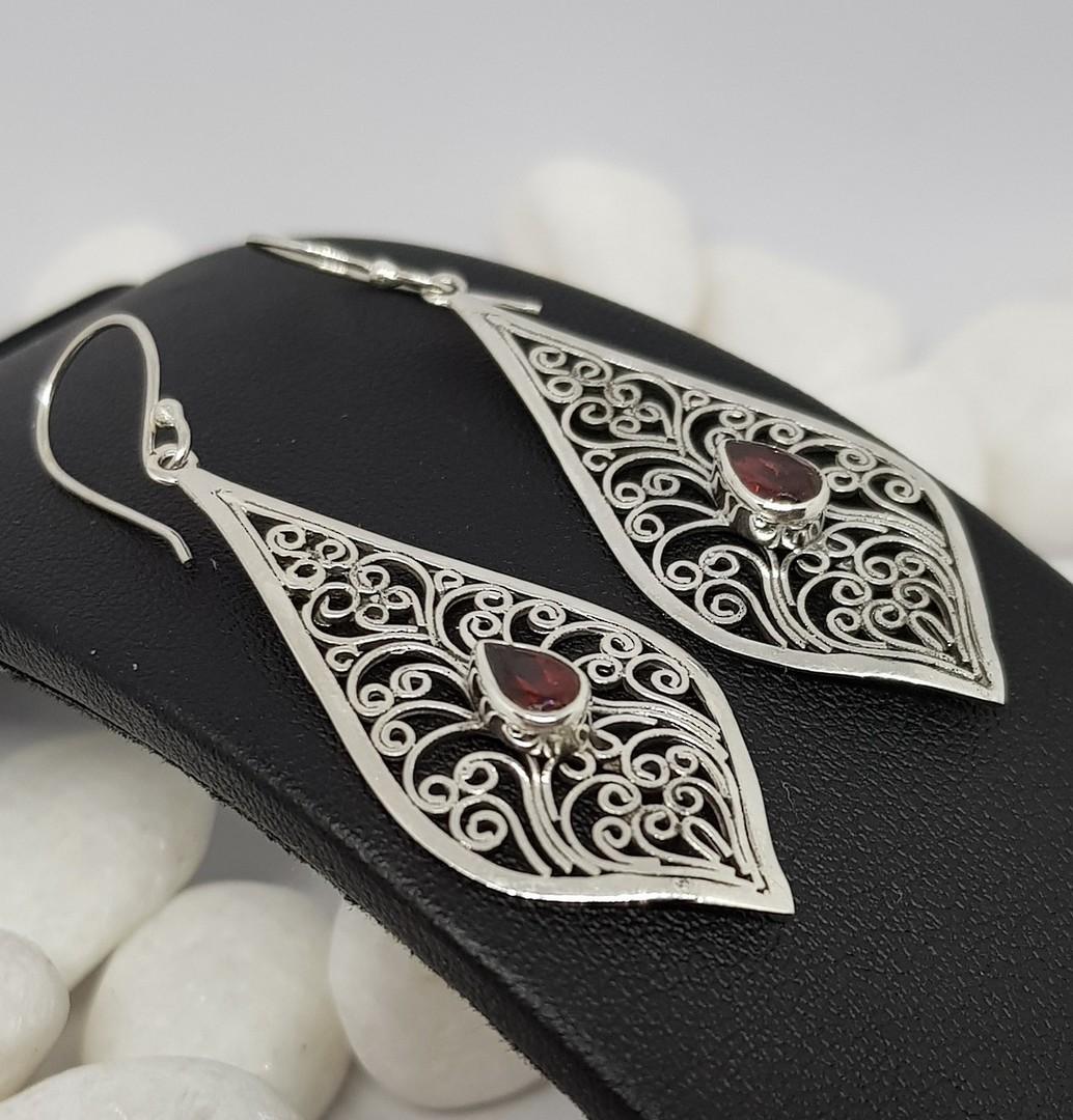 Sterling silver filigree garnet earrings image 1