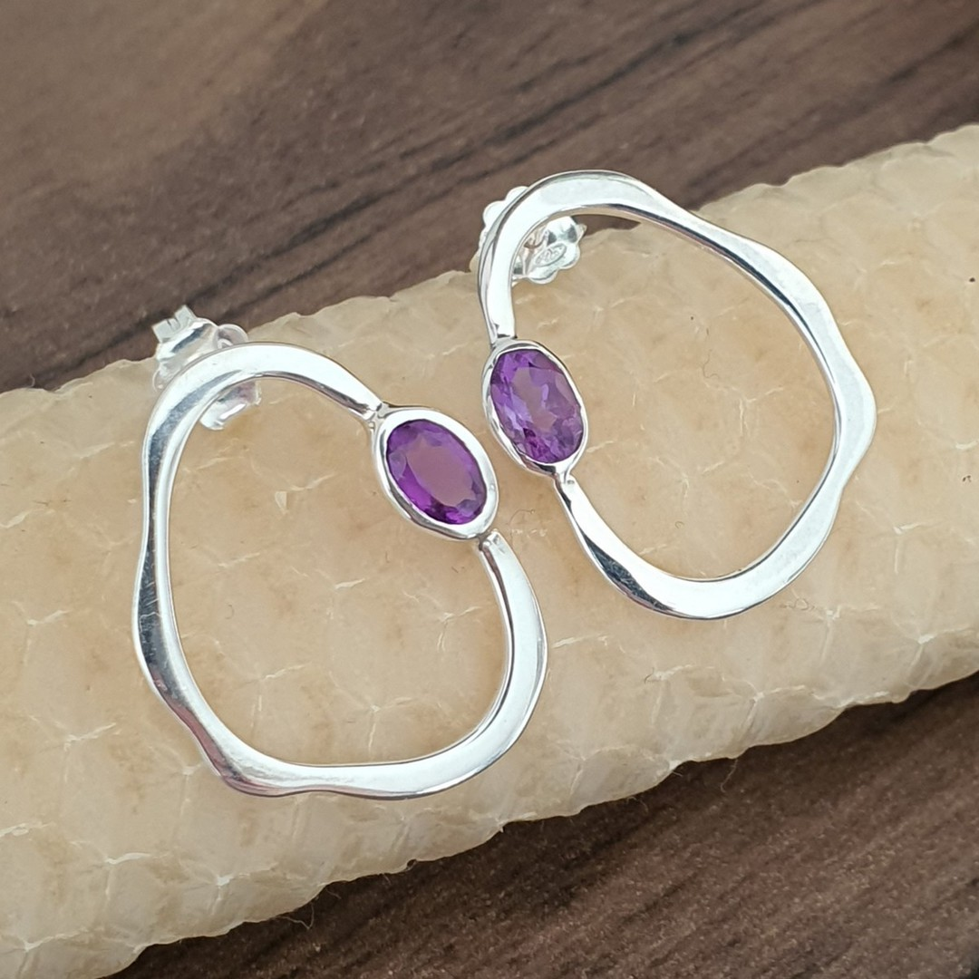 Open wonky oval shape amethyst earrings image 1
