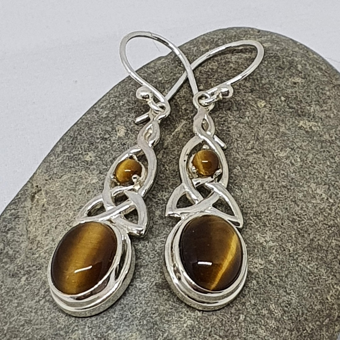 Silver tigers eye earrings with infinity knot image 0