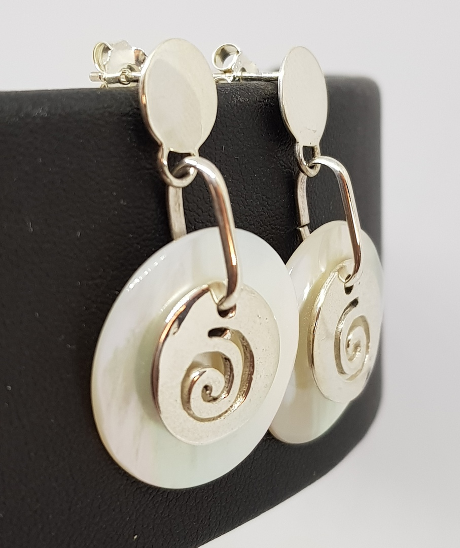 Mother of pearl earrings with silver koru image 2