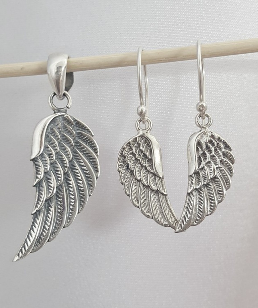 Solid sterling silver angel wing pendant image 1