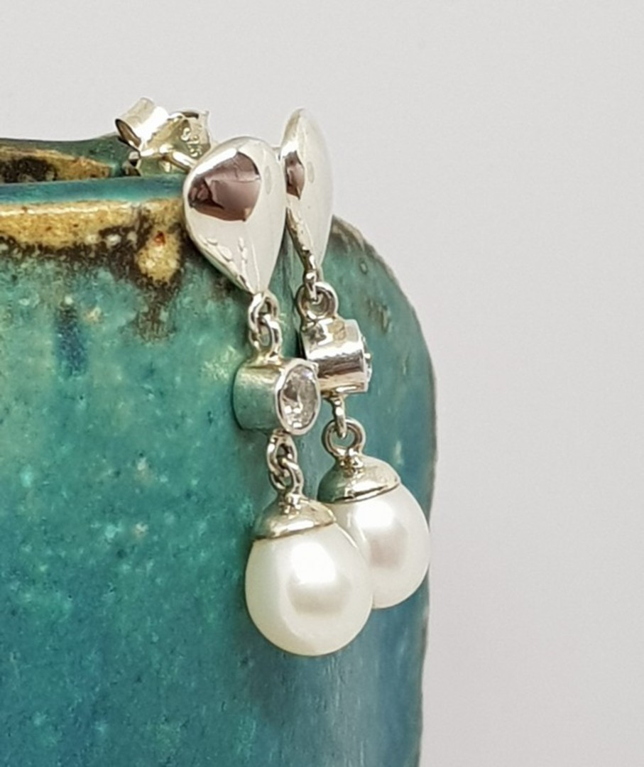 Fresh Water Pearl Drop Earrings with c/z sparkle image 1