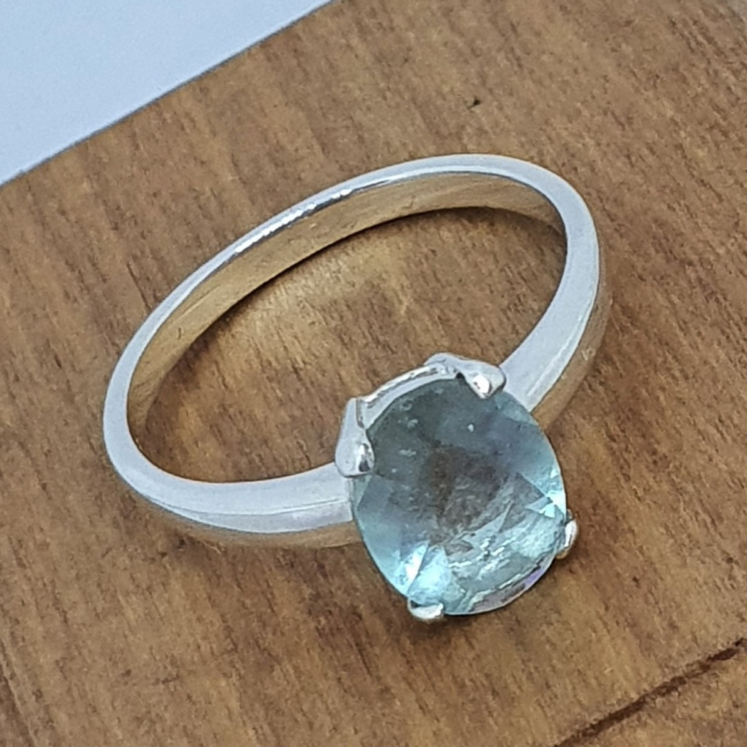 Sterling silver blue fluorite ring image 2