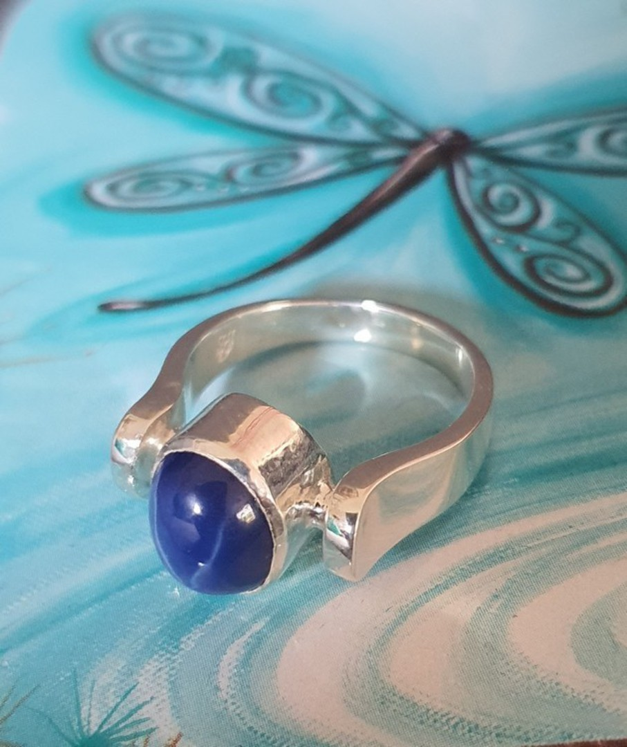 Sterling silver blue star sapphire ring - made in NZ image 1