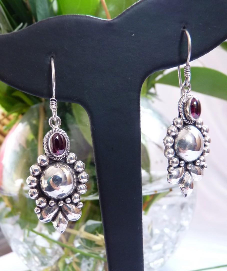 Sterling silver cabochon garnet earrings image 2