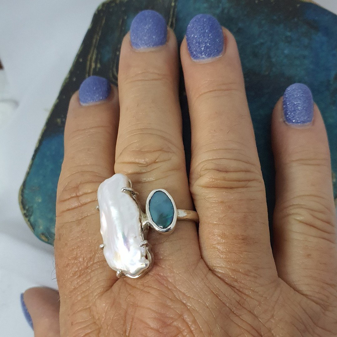 Large fresh water pearl and opal ring image 2
