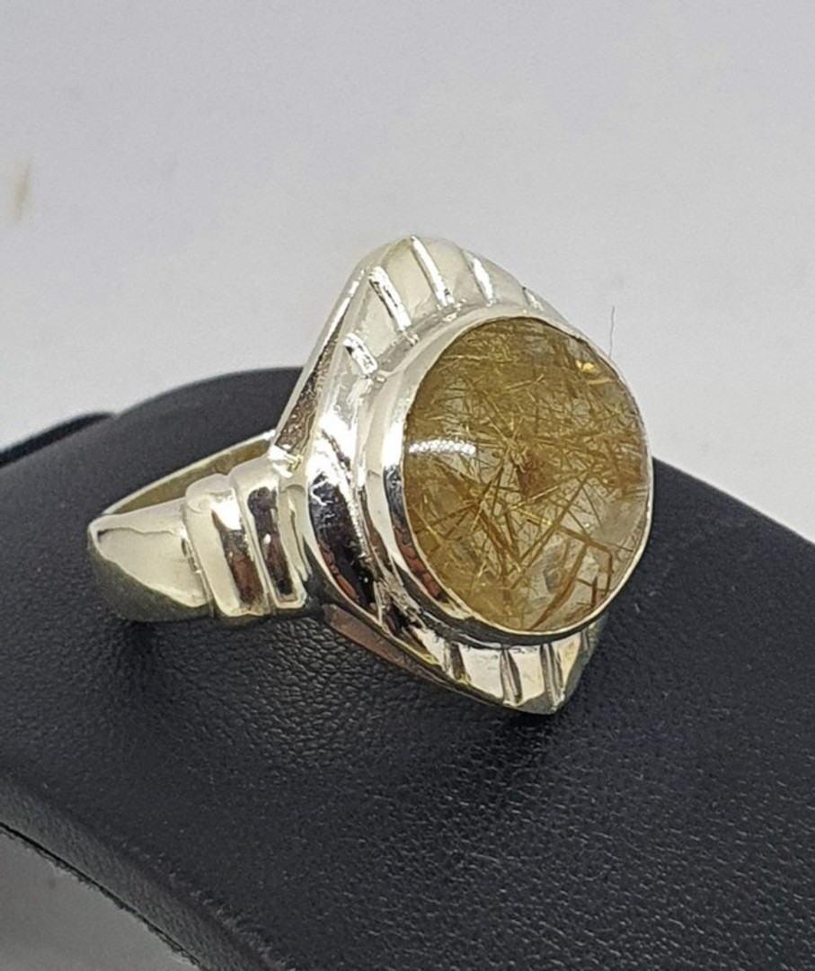 Sterling silver designer ring with large rutilated quartz image 0
