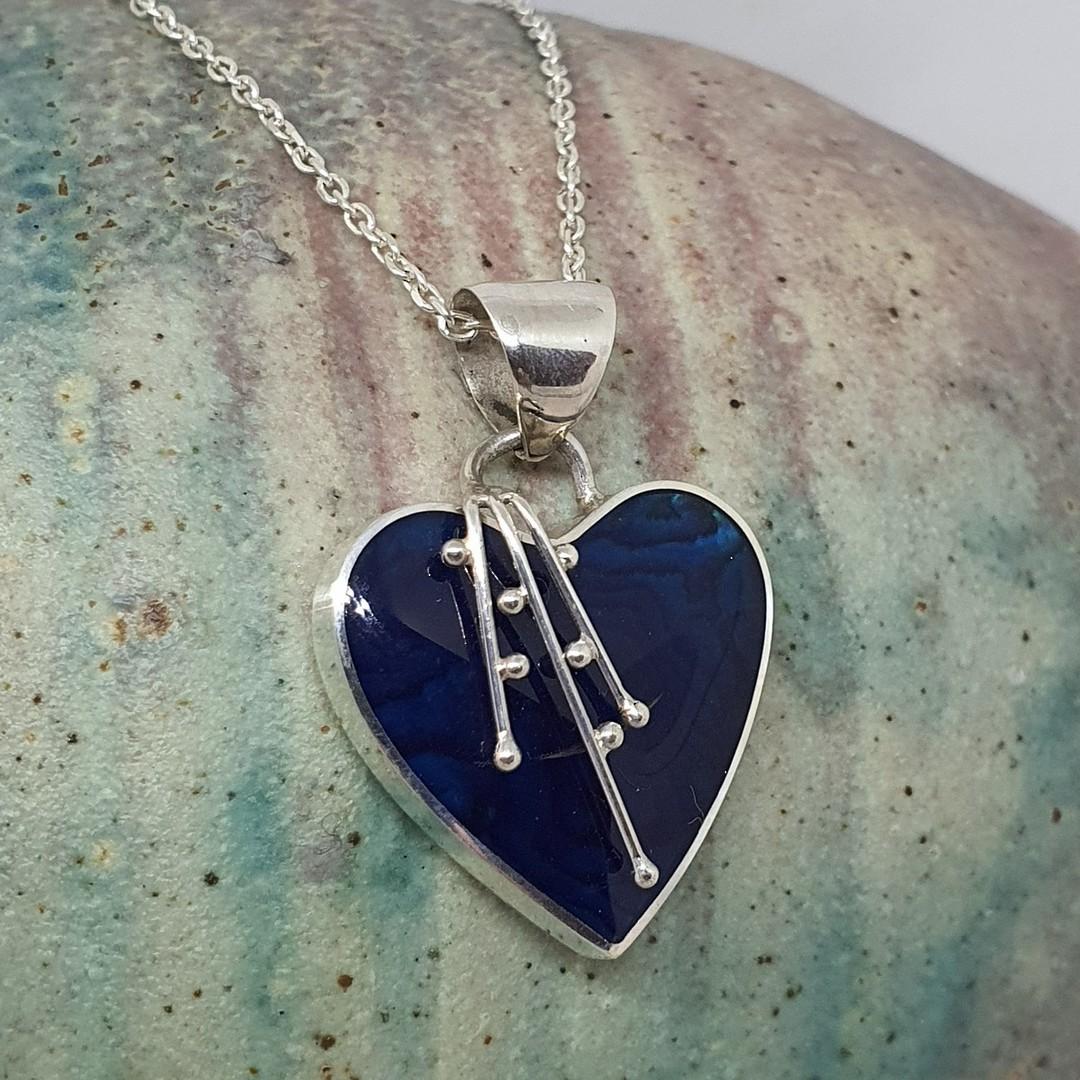 Deep blue shell silver heart pendant image 3