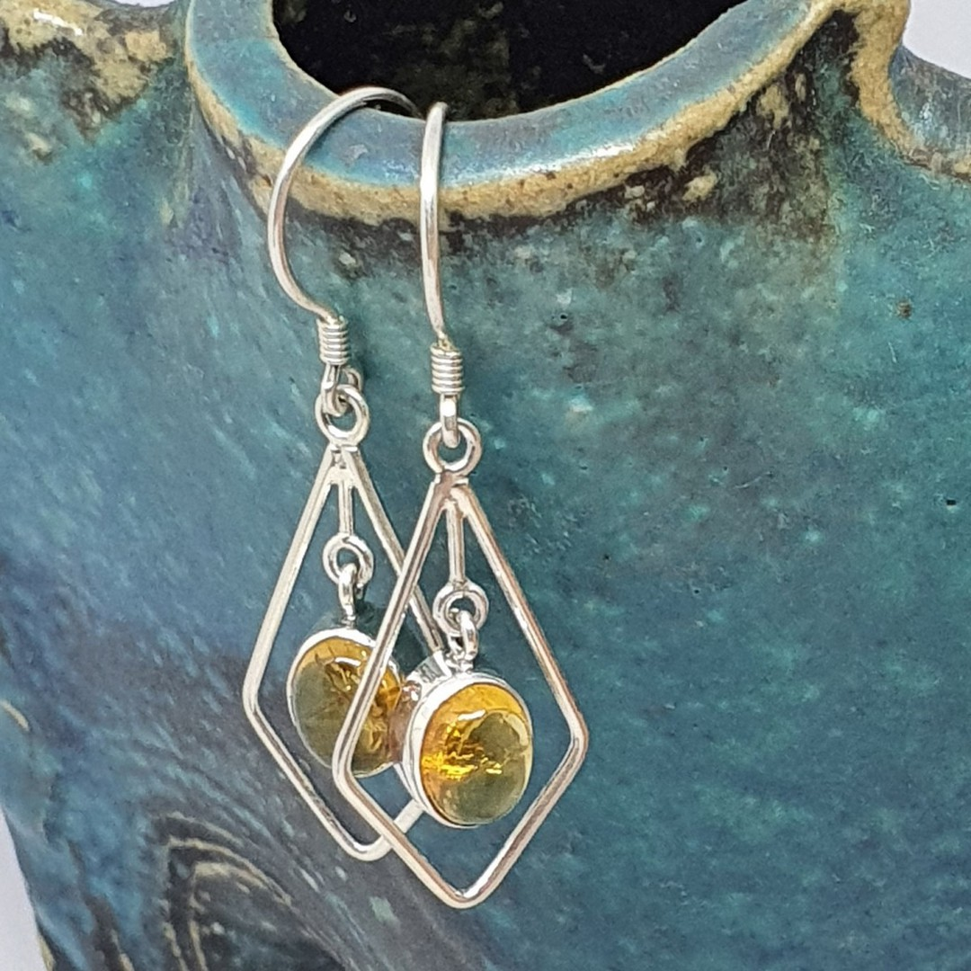 Silver hook earrings with oval citrine gemstone image 1