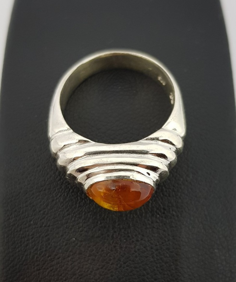 Sterling silver amber ring, NZ made image 1