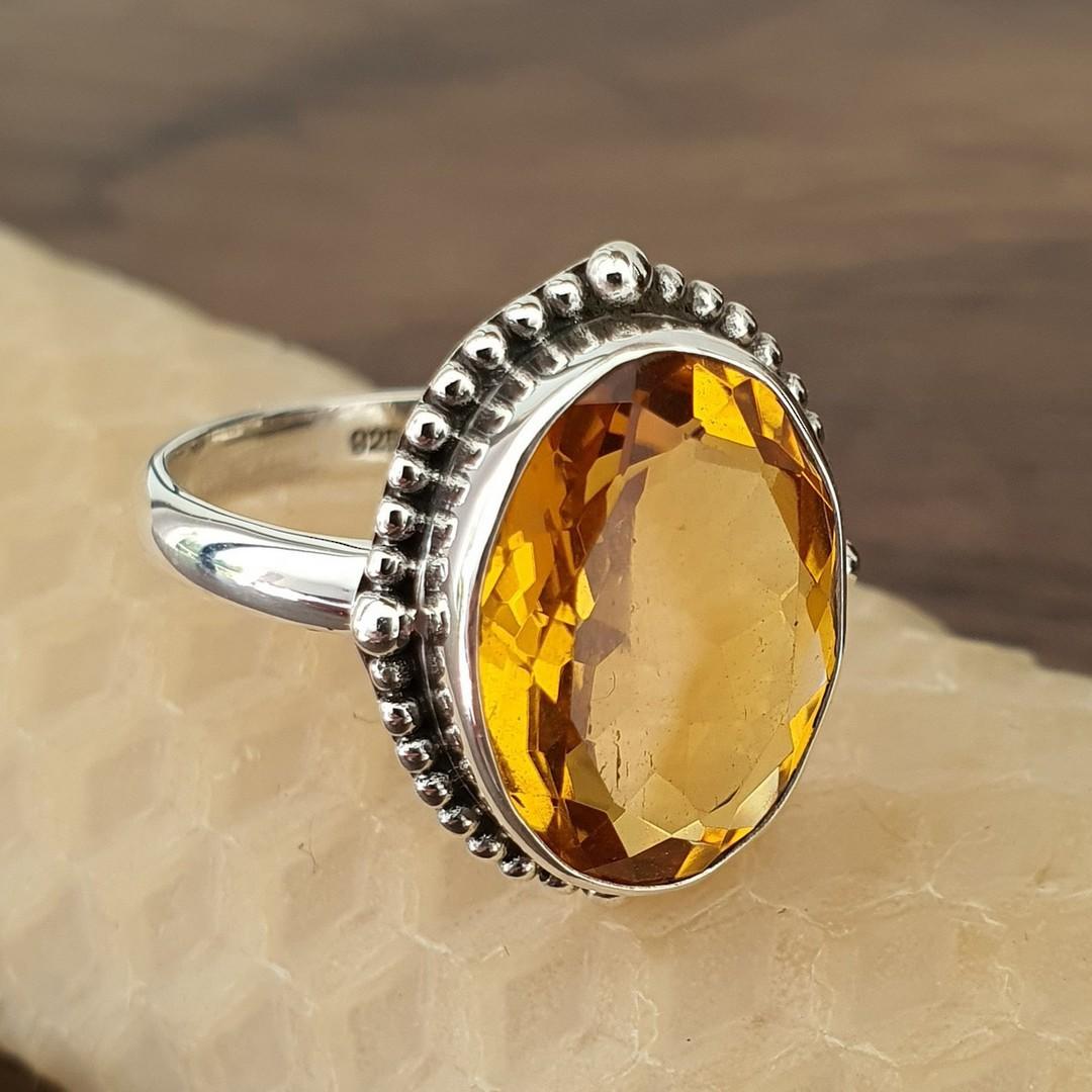 Stunning silver citrine ring image 0