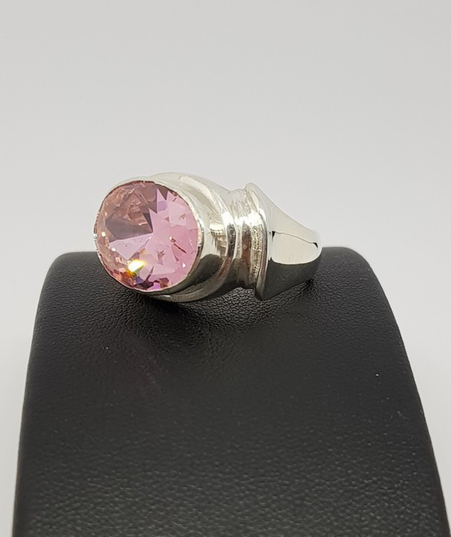 Sterling silver ring with large pink gemstone image 1