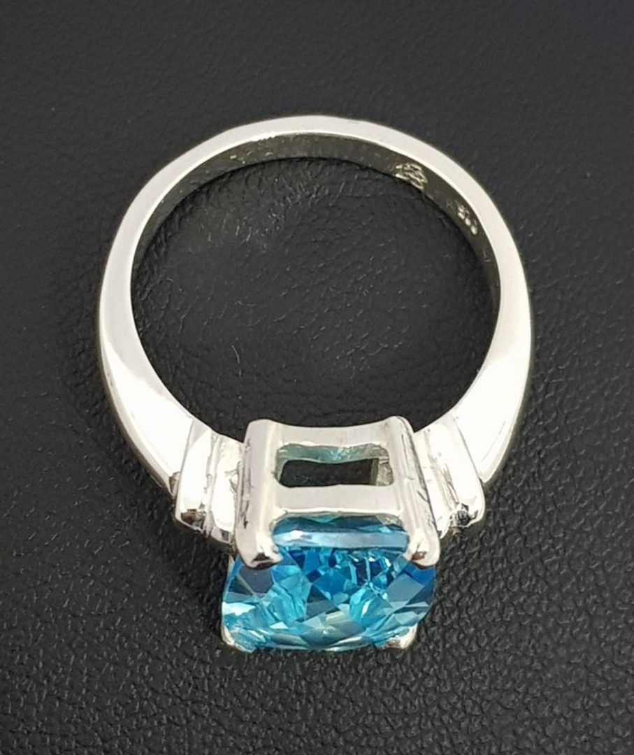 Silver blue topaz ring - NZ made image 2