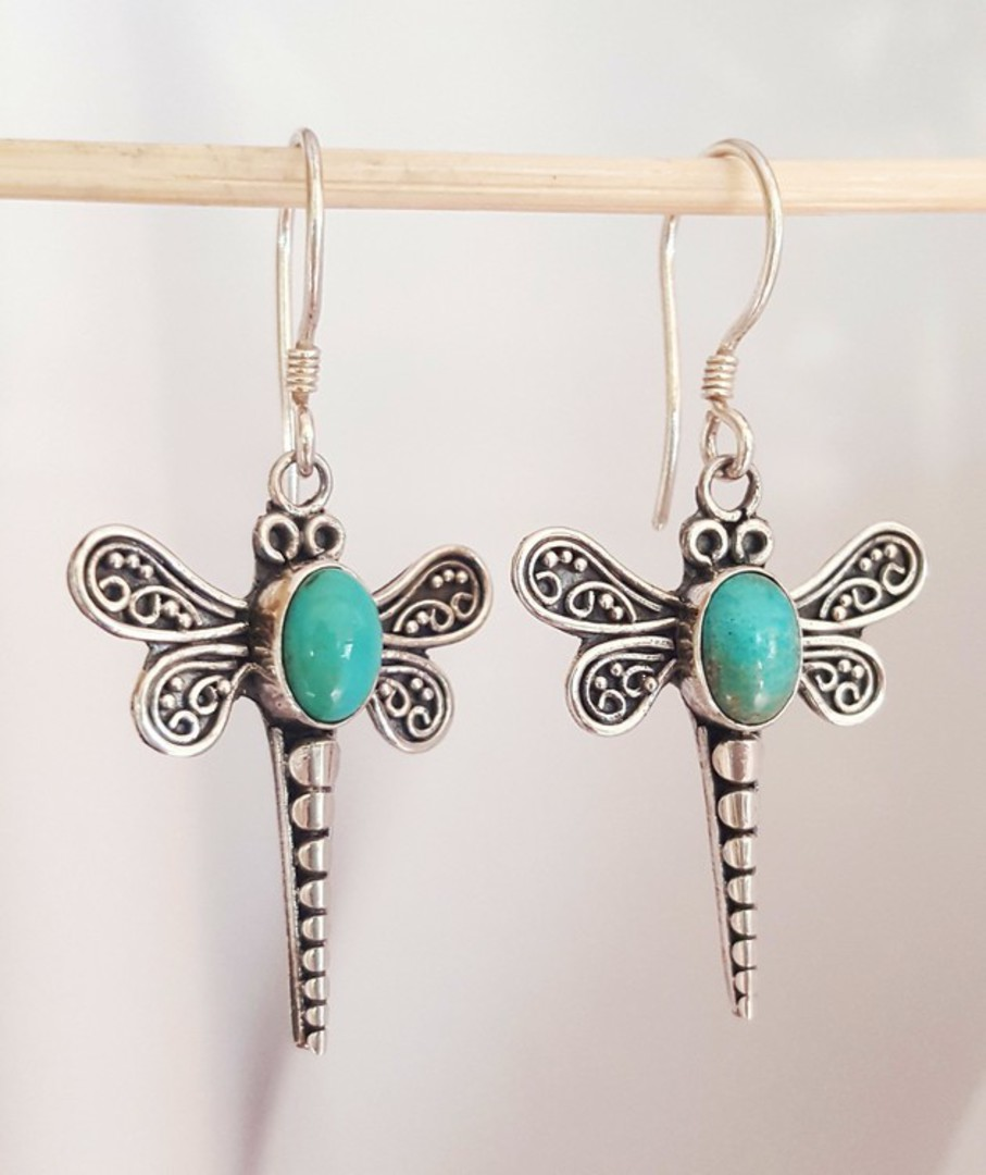 Sterling silver turquoise dragonfly earrings image 0