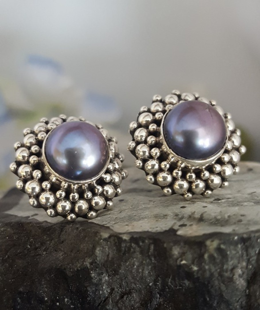 Blue/gray pearl earrings, sterling silver image 1