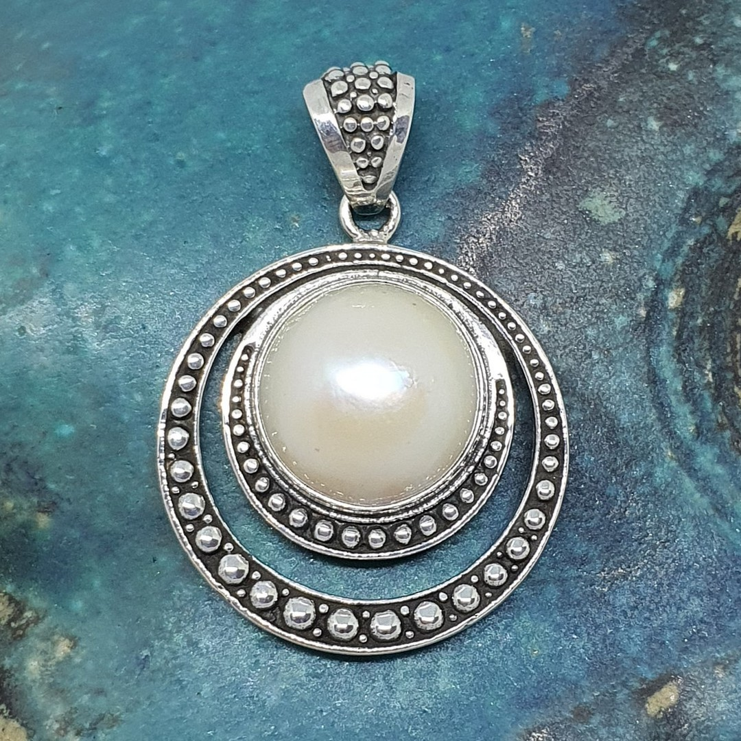 Large round silver pearl pendant image 1