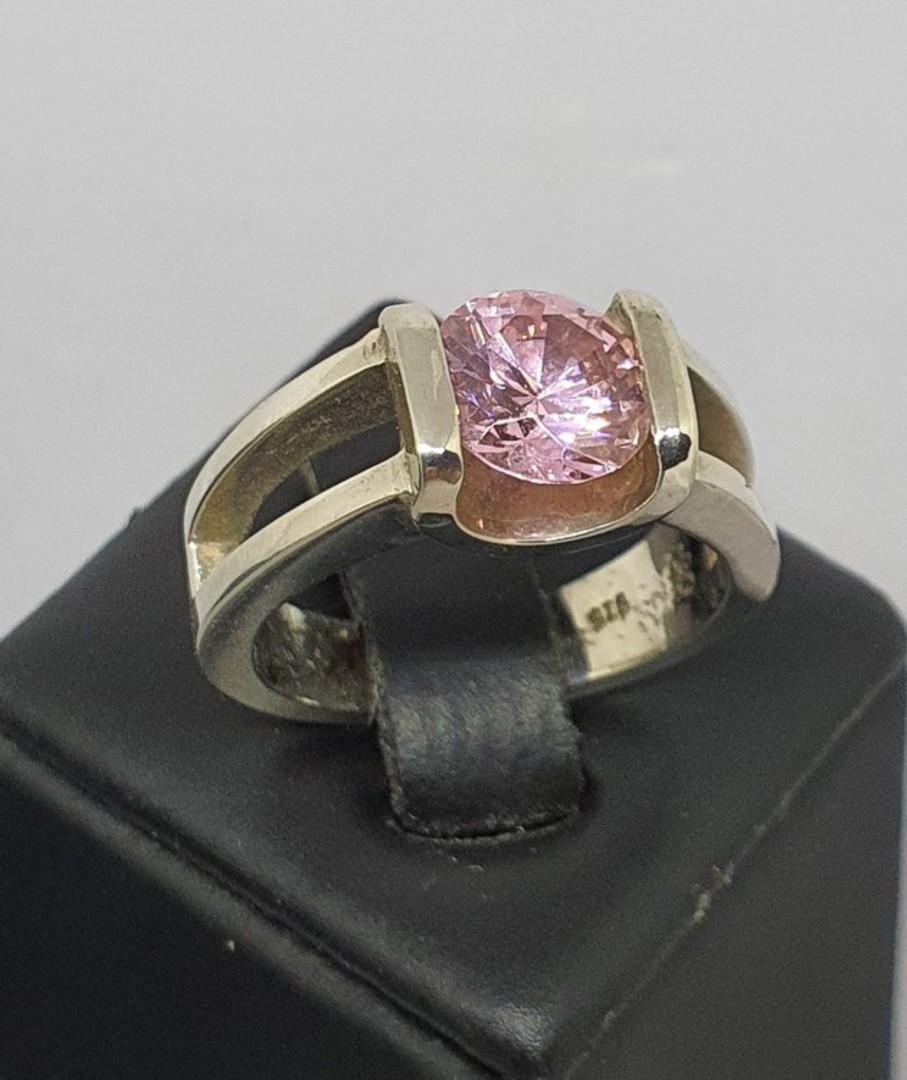 Sterling silver pink gemstone ring - made in NZ image 0