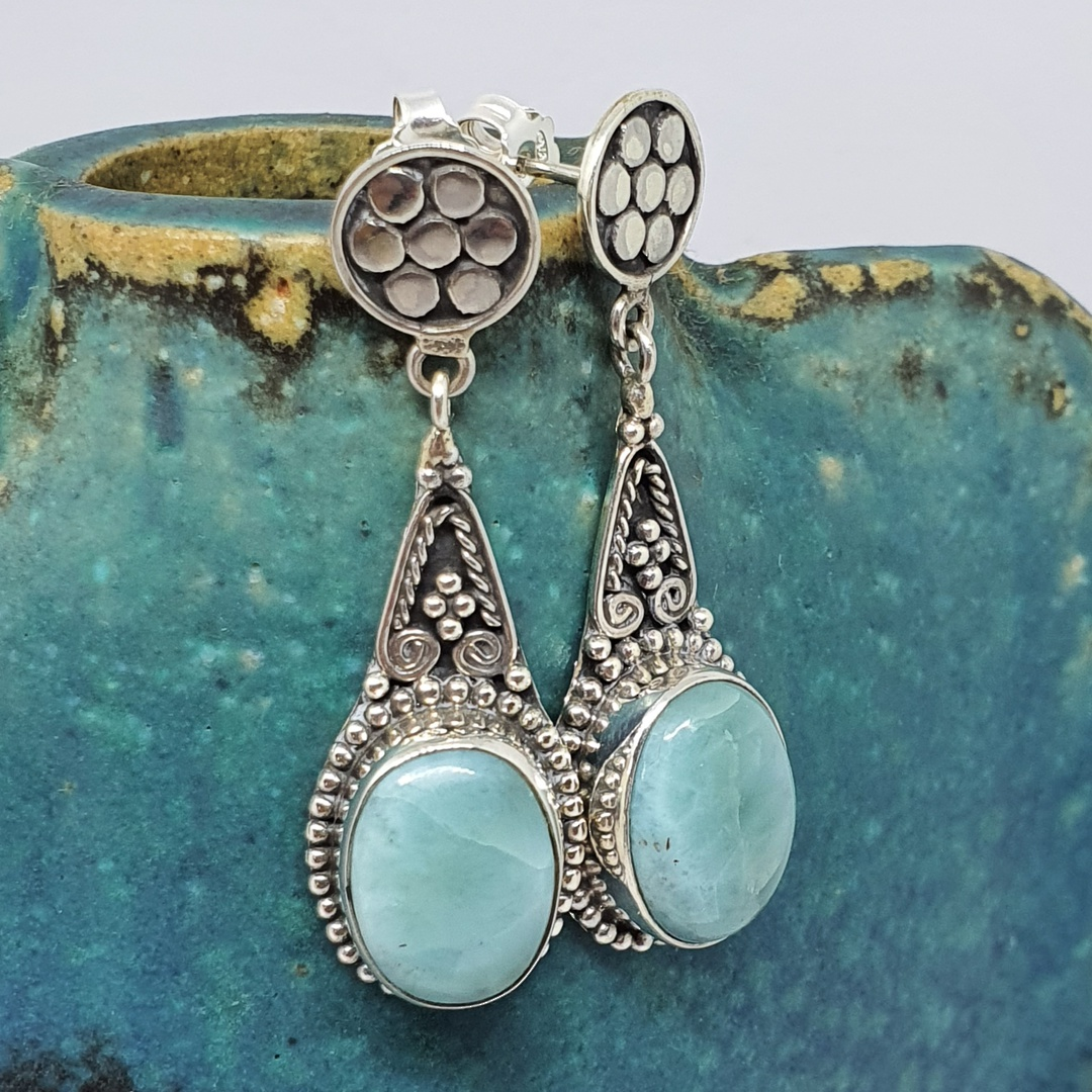 Oval larimar gemstone, long teardrop silver earrings image 1
