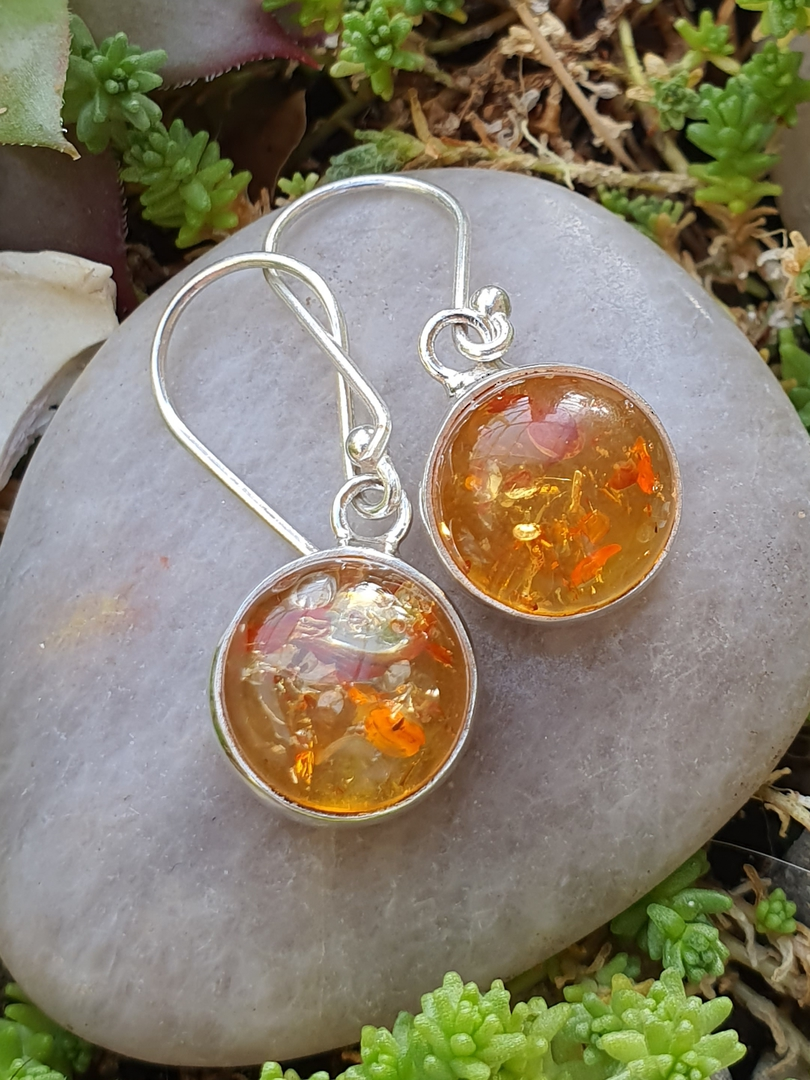 Silver Amber Earrings image 0
