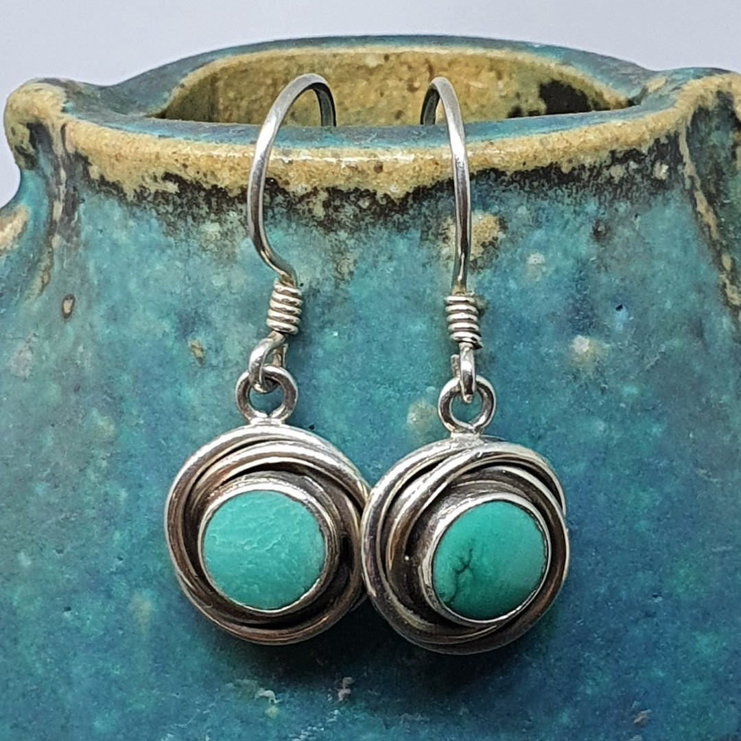 Sterling silver round turquoise earrings image 1