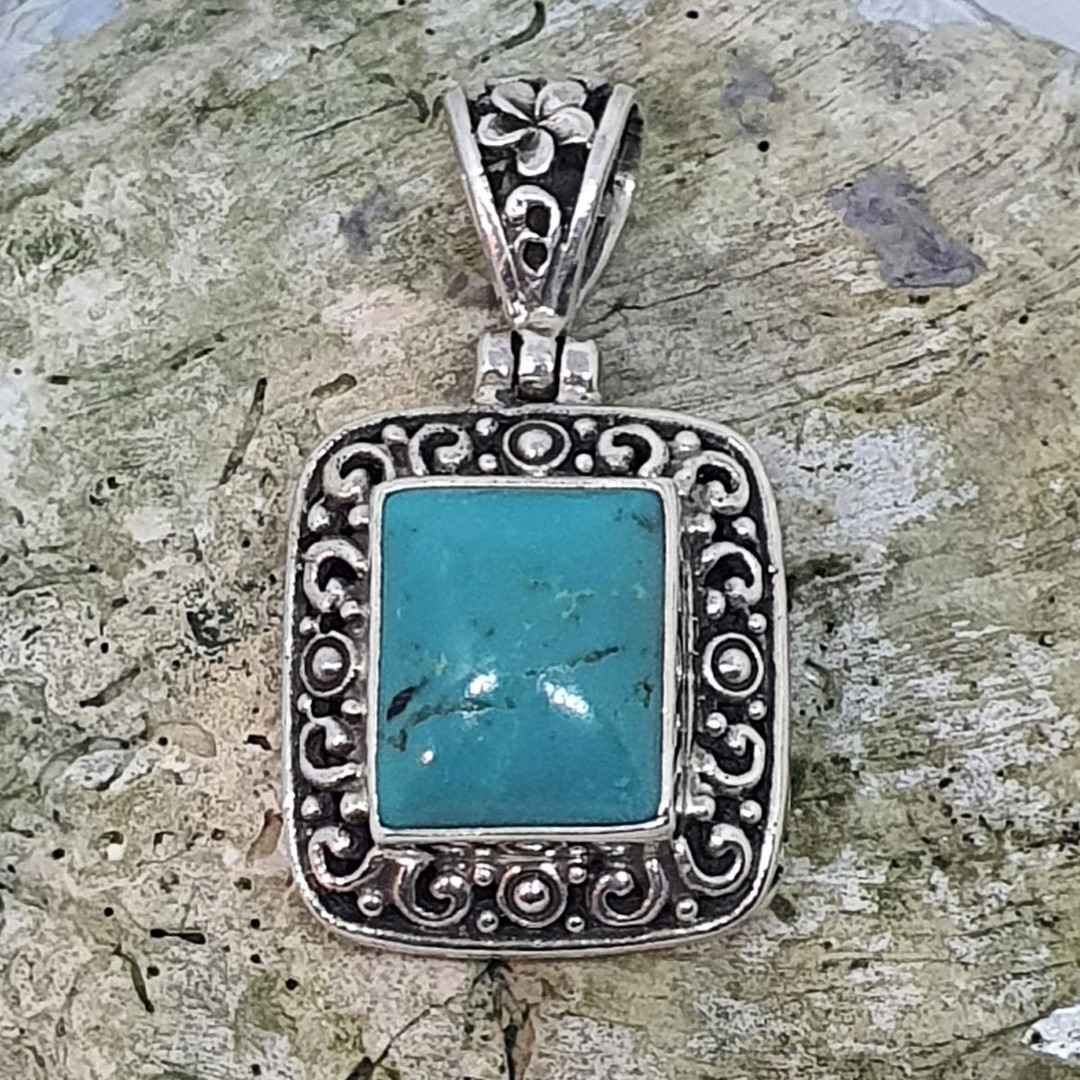 Sterling silver rectangle turquoise pendant image 2