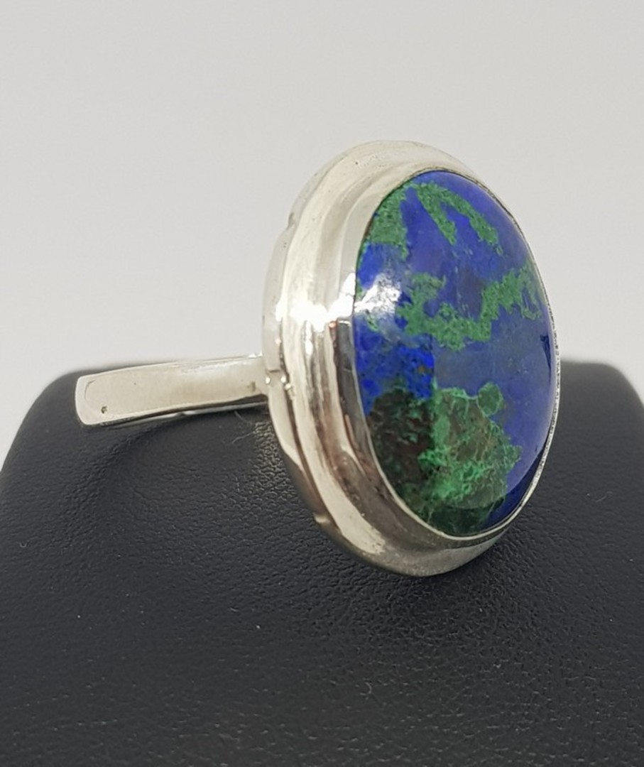 Large Azurite with Malachite silver ring | Made in NZ image 0
