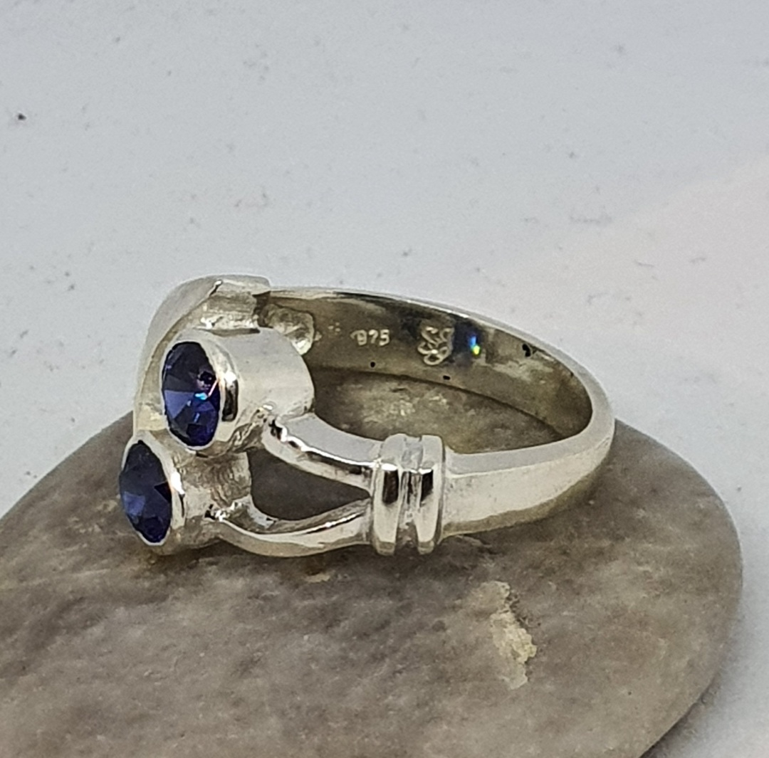 Sterling silver blue gemstone ring, made in NZ image 2