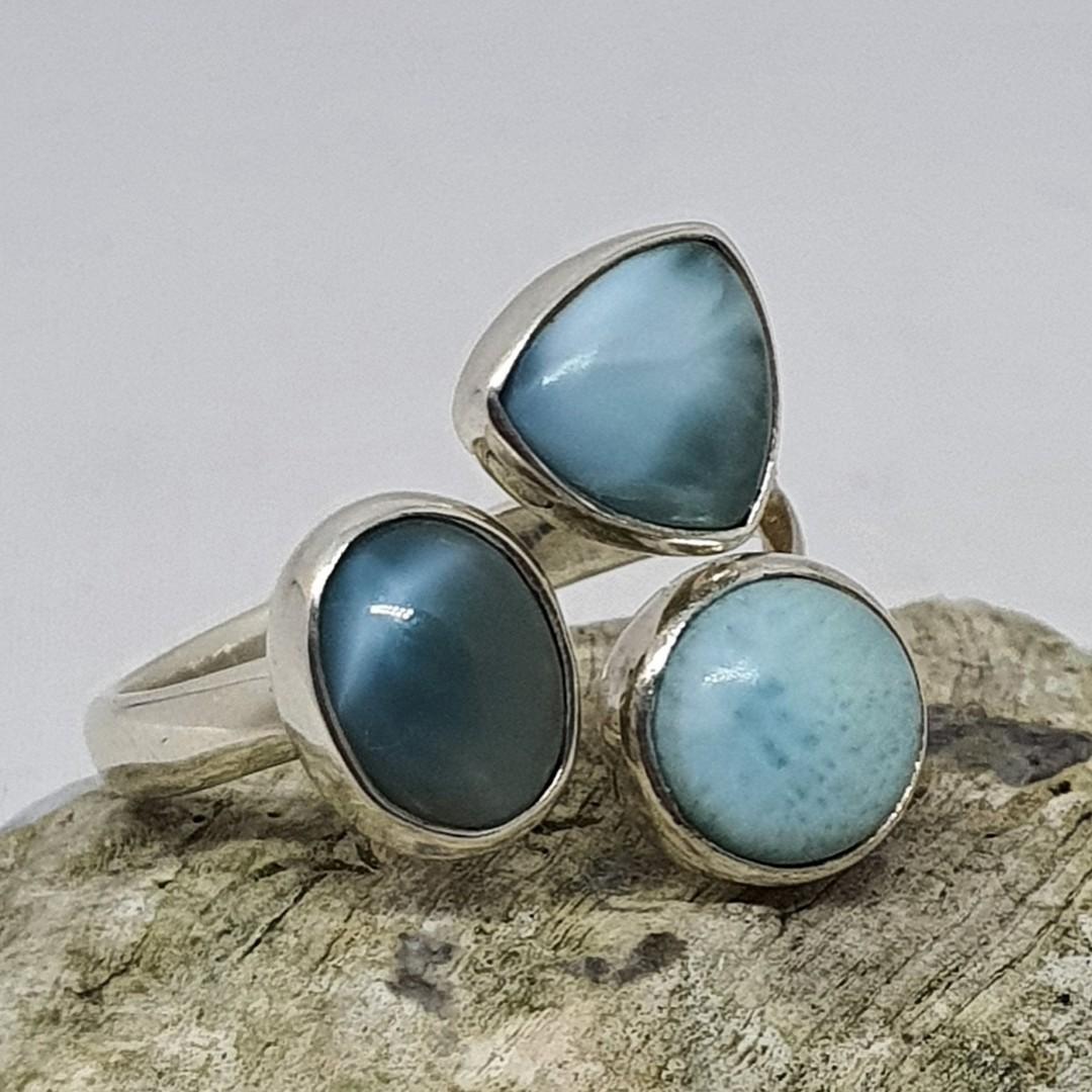Sterling silver larimar gemstone ring image 1