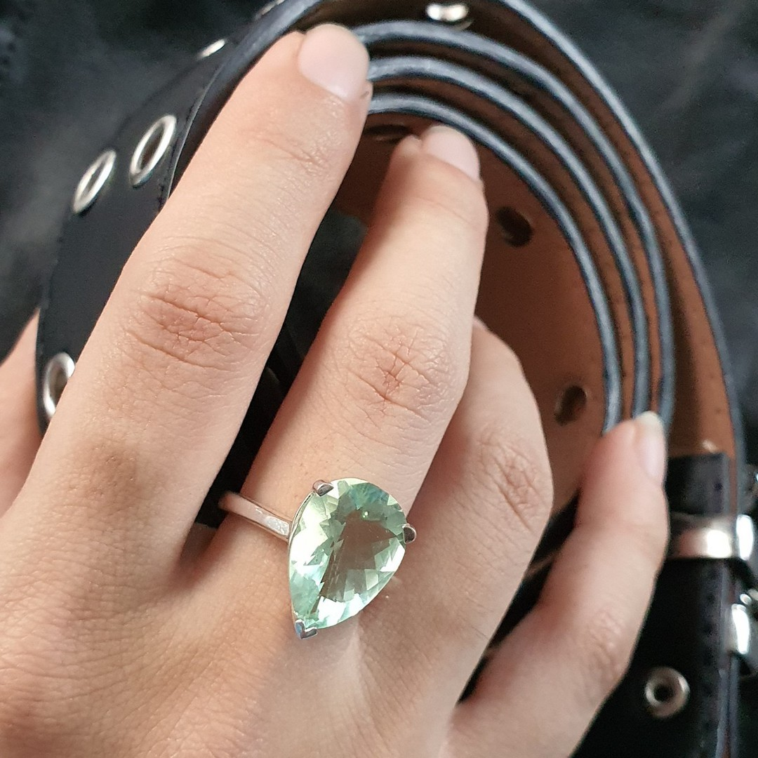Sterling silver green fluorite ring image 1