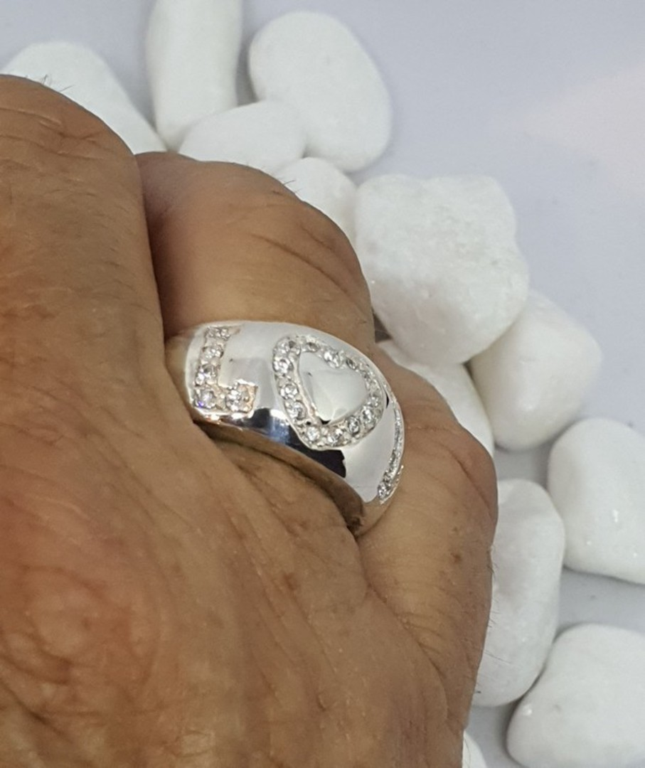 Chunky sterling silver ring with LOVE in CZ image 3