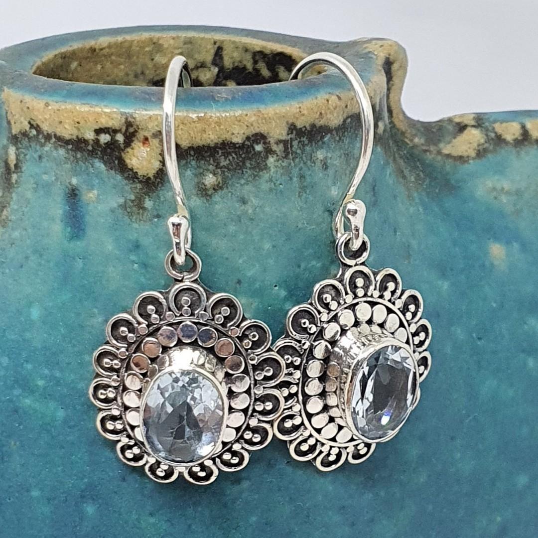 Silver blue topaz flower earrings image 2