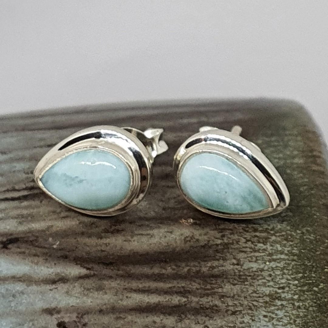 Teardrop larimar gemstone stud earrings image 3
