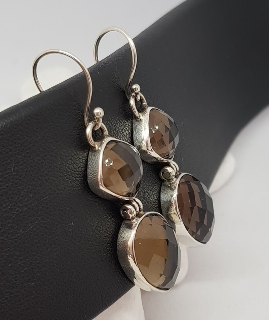 Long elegant smoky quartz silver earrings image 3