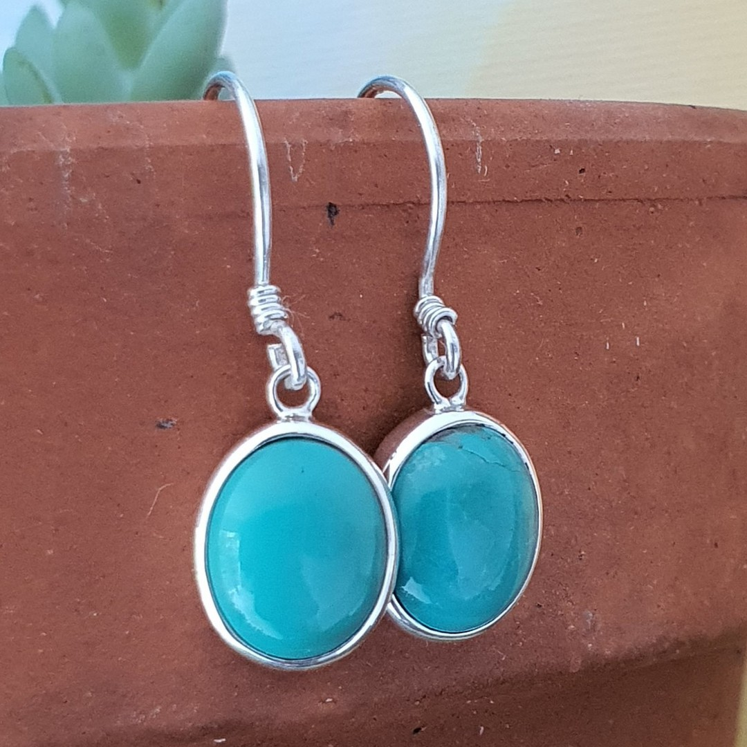 Sterling silver oval turquoise hook earrings image 0