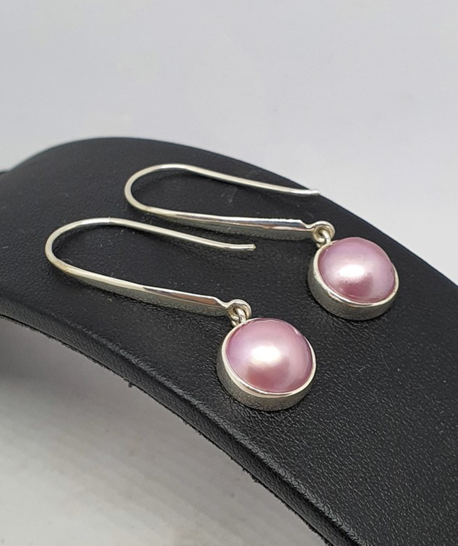 Sterling silver elegant long pink pearl hook earrings image 1